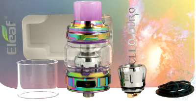 Le kit complet du clearomiseur Eleaf Ello Duro 6,5 ml.